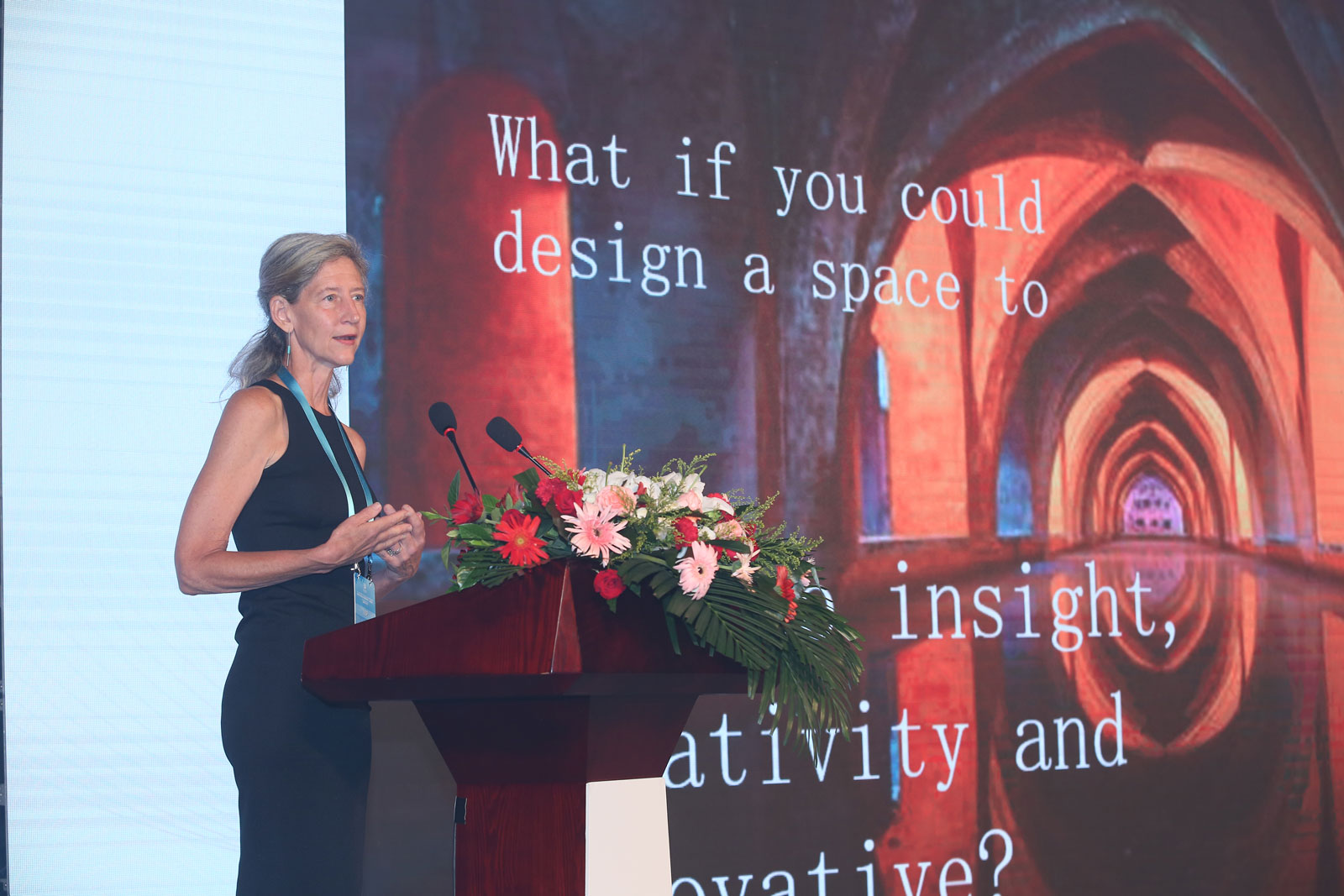 Susan on stage in China