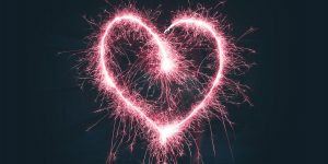 Pink heart of light