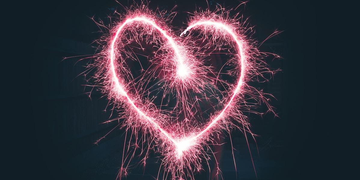 Pink heart of light