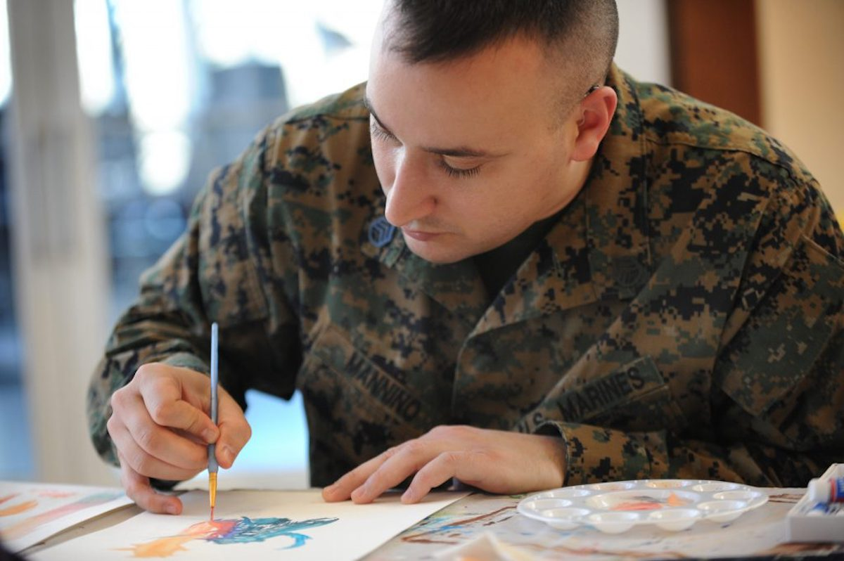 Military service member painting