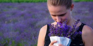 Woman smelling lavendar